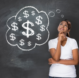Woman thinking about money, concerned